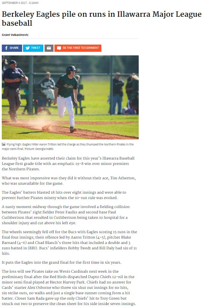 2017 09 04 www illawarramercury com au Berkeley Eagles pile on runs in Illawarra Major League baseball